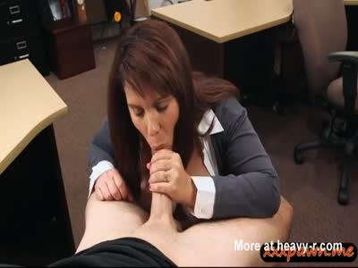 Busty Wife Gives Blowjob To Pawn Guy