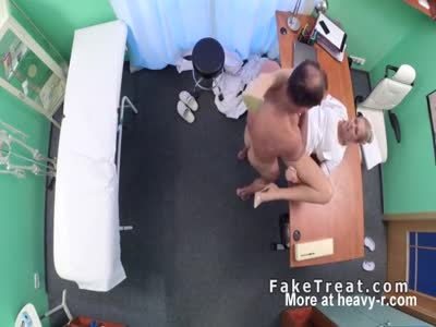 Doctor fucks his blonde nurse in office