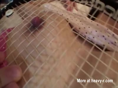 Nipple Play With Tennis Racket