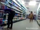 Brazil woman shopping at supermarket naked