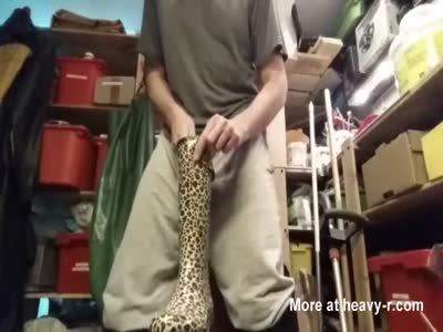 Wank dumping my load in wife's leopard wellies
