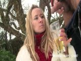 Hot blonde babe drinks a whole glass of piss