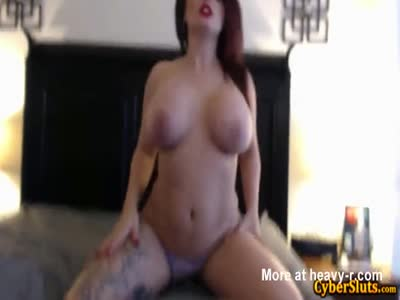 Busty And Nasty Tattooed Babe Shags Herself