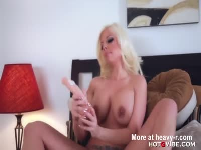 Horny Blonde Fucks Big Dildo