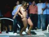 Bar contest - amateur girl naked and groped on stage