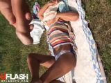 Cumming On Sunbathing Girl