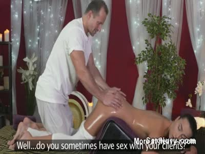 Massage couple fucking at work place