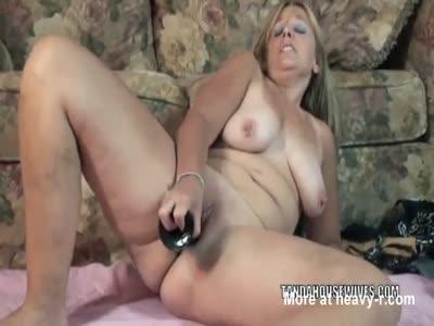 Housewife Fucks Big Black Dildo