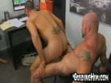 Bald guy fucking young coworker