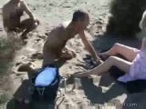 MILF gets swarmed at nudist beach