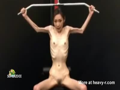 Extreme Skinny Asian Working Out