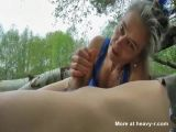 Mature Gives Outdoor Handjob