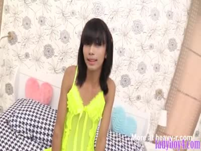 Ladyboy cutie takes a huge dildo and cock up her asshole