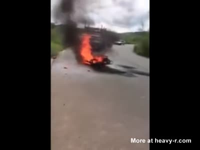 Biker burnt alive after horrific accident
