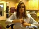 Woman flashes boobs at work