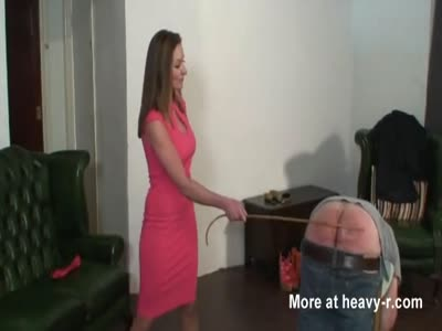 Strict Lady uses the slipper and cane