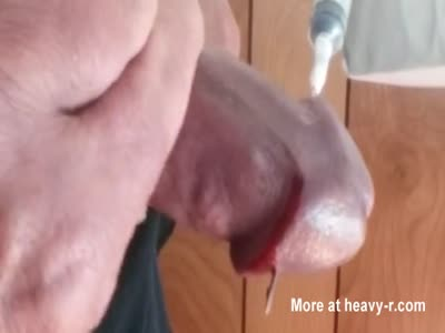 Stubborn cock head finally surrenders to needles advance