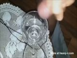 9+ thick squirts of hot cum in a glass with slowmotion