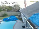 Webcam slut, jumping from roof to pool