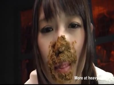 Greedy Girl With Mouthful Of Shit