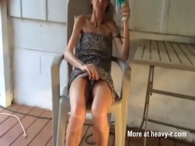Drunk Skinny Wife Lifting her Dress