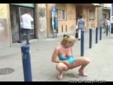 Hottie takes a pee in middle of streets
