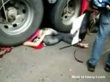 Pretty girl crushed to death under huge truck