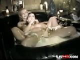 Lesbians And Dildos In Bathtub
