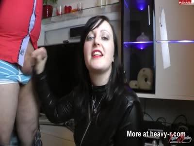 Handjob And Cumshot On PVC Girl