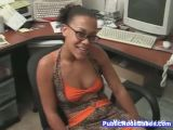 Office Ebony Girl Enjoys Hard Cock