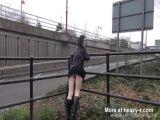 Gothic exhibitionist Fayth Corbin flashes and masturbates