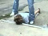 Girl Tries Curb Stomp
