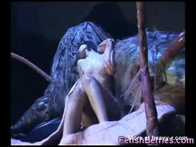 Girl In Monstrous Alien Cum Bath