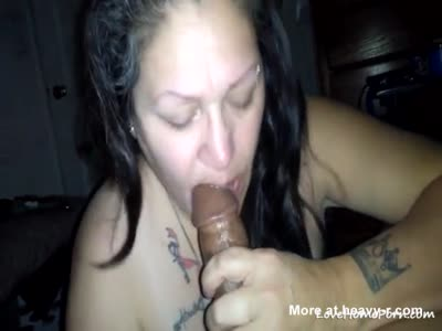Tattooed Biker Chick Sucking Hard Cock