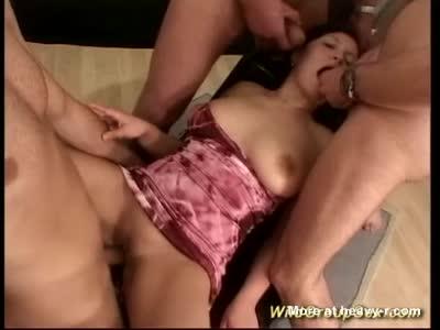 Busty Teen In Foursome Bukkake Gangbang