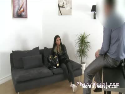 Natural busty tanned babe banged after casting
