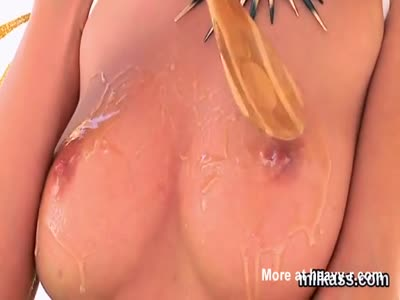 Naked Girl Plays With Honey