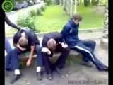 Bad trip on bench in park
