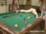 Nuts Busted By Pool Balls While Eating Pussy