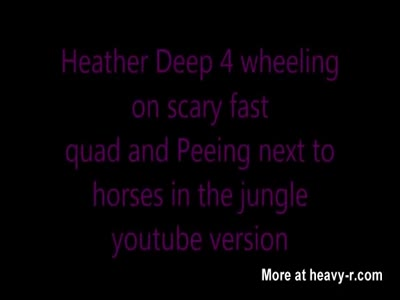Heather Deep 4 wheeling on scary fast quad and Peeing next t