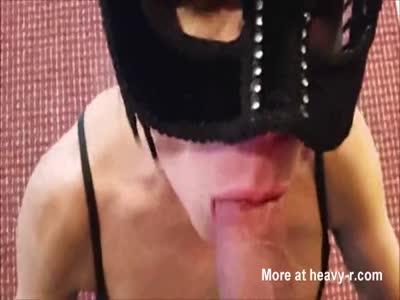 Masked Mature Gives Blowjob For A Facial