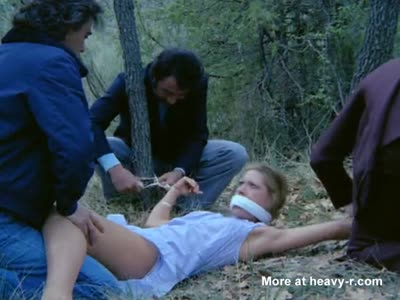 Kidnapped Blonde is tied up and gangraped in the woods