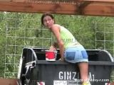 Crazy babe shitting in public waste container