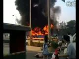 Bus On Fire After Traffic Accident