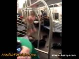 Crazy Naked Dude Fights In Subway