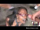 Ebony Teen Facial Ganbang