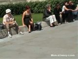 Voyeur Catches Girl Wearing No Panties Under Skirt