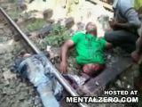 Guy cut in half and still alive